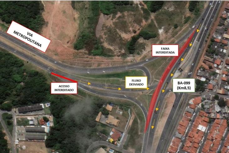 Bahia Norte interdita temporariamente alça de saída da Via Metropolitana