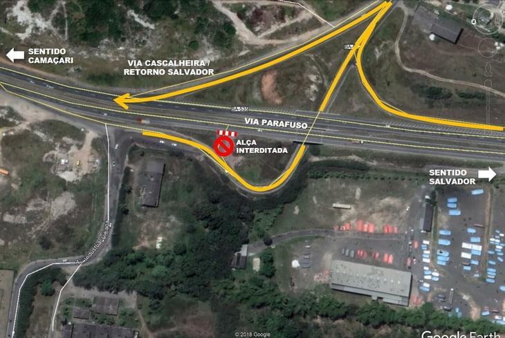 Bahia Norte interdita temporariamente alça do viaduto da Cascalheira