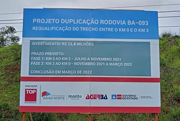 Bahia Norte vai investir R$24 milhões  na duplicação dos 3 Km iniciais da rodovia BA-093