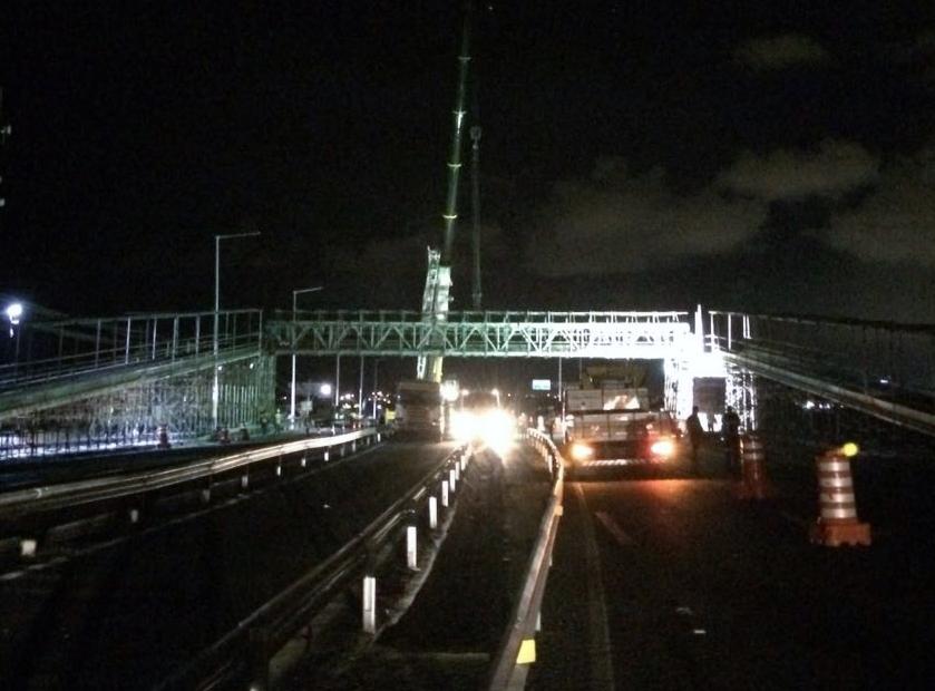 BA-099: Bahia Norte concluiu o içamento da viga central de passarela