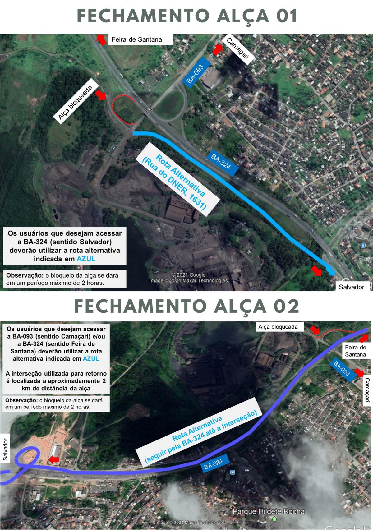 Bahia Norte realiza intervenções neste sábado em duas alças de ligação da BA-093 com a BR-324